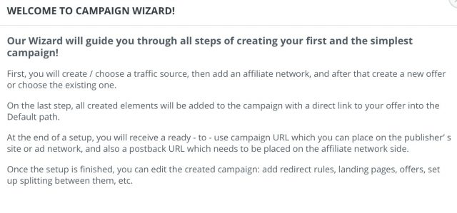 Adsbridge Review Tutorial campaign wizard