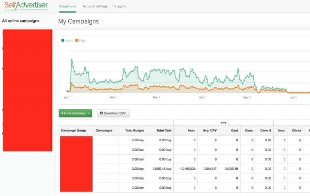 SelfAdvertiser Promo Coupon Review - Dashboard