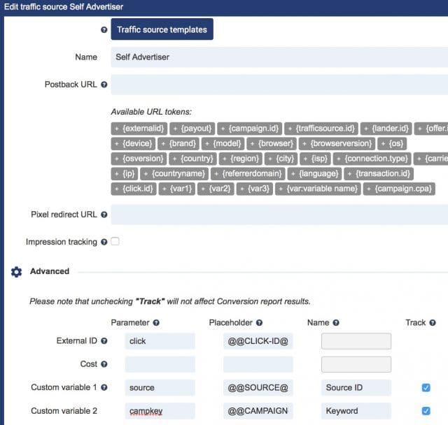 SelfAdvertiser Promo Coupon Review - Voluum tracker