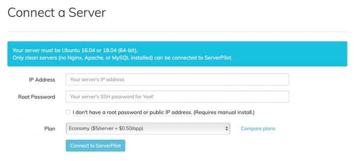 vultr vps ssl serverpilot - serverpilot connect server