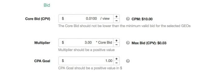 SelfAdvertiser Bid Optimizer Values