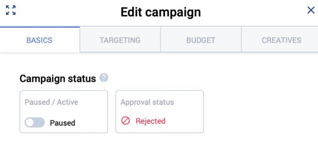 Voluum DSP Campaign Approval