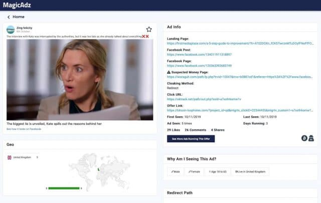 facebook ad spy tool magicadz - ad info