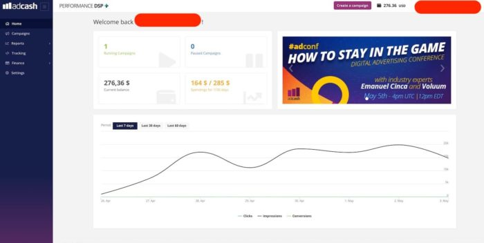 adcash review - dashboard