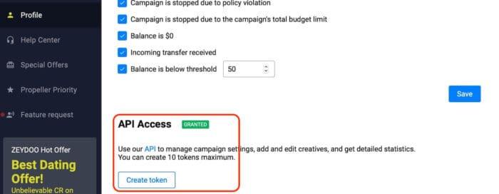Voluum Automizer campaign auto optimization - PropellerAds API Token