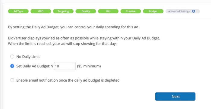 bidvertiser review - campaign budgets