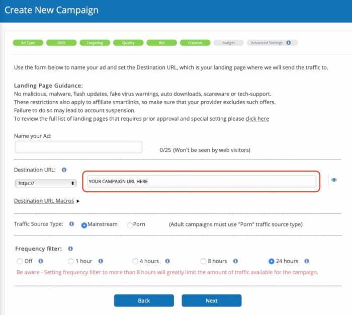 bidvertiser review - campaign creative