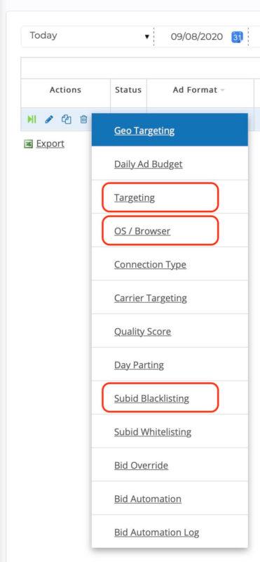 bidvertiser review - optimization settings